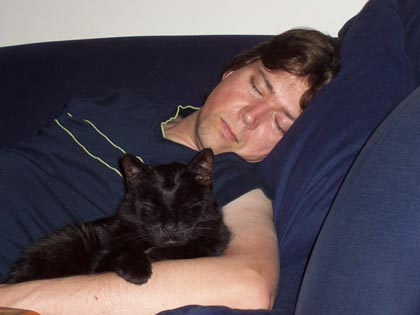 Liam Egan and his cat